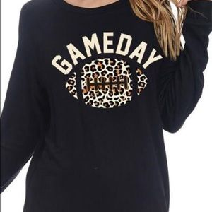 Sweaters - Leopard Print Black Game Day Top